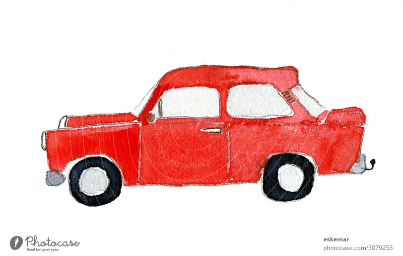 Car in watercolor Art Work of art Painting and drawing (object) Watercolors Painted on paper Transport Means of transport Passenger traffic Road traffic