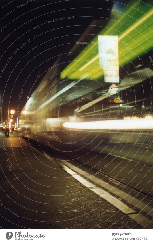 trainspotting Speed Tram Railroad Night Transport Reflection Blur