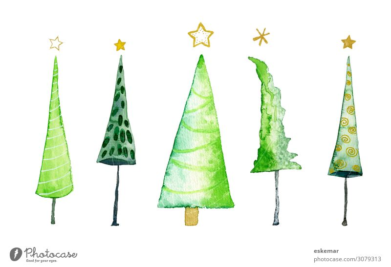 Christmas & Advent Beautiful Green White Tree Art Esthetic Creativity Star (Symbol) Paper Many Painting and drawing (object) Christmas tree Painted Work of art