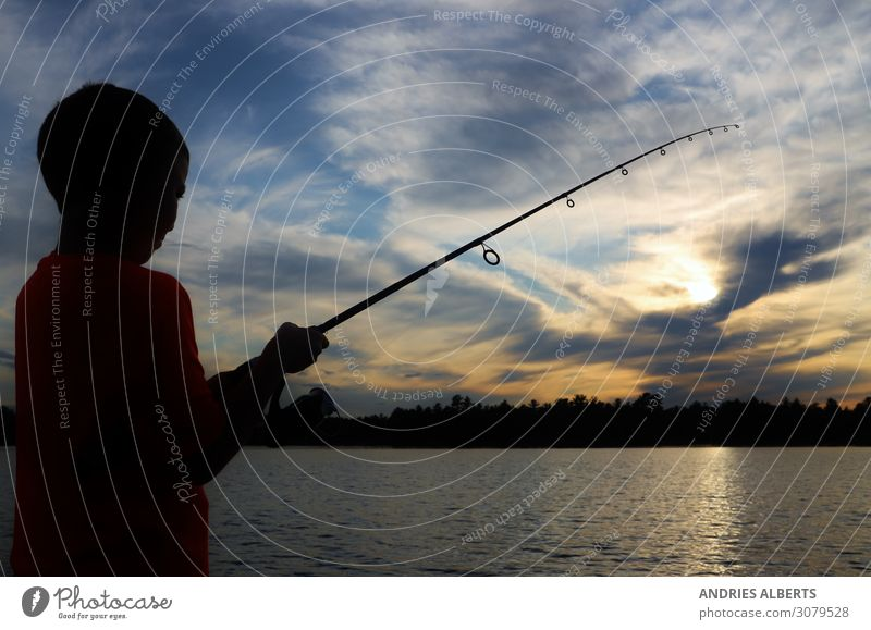 Fishing Adventure - Catching a Sky full of Diamonds Child Human being Vacation & Travel Nature Summer Water Landscape Relaxation Clouds Calm Joy Lifestyle