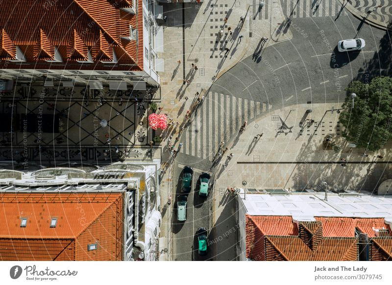 Lisbon Downtown Portugal Europe Town Populated Places Architecture Wall (barrier) Wall (building) Window Roof Road traffic Street Crossroads Highway Car Taxi