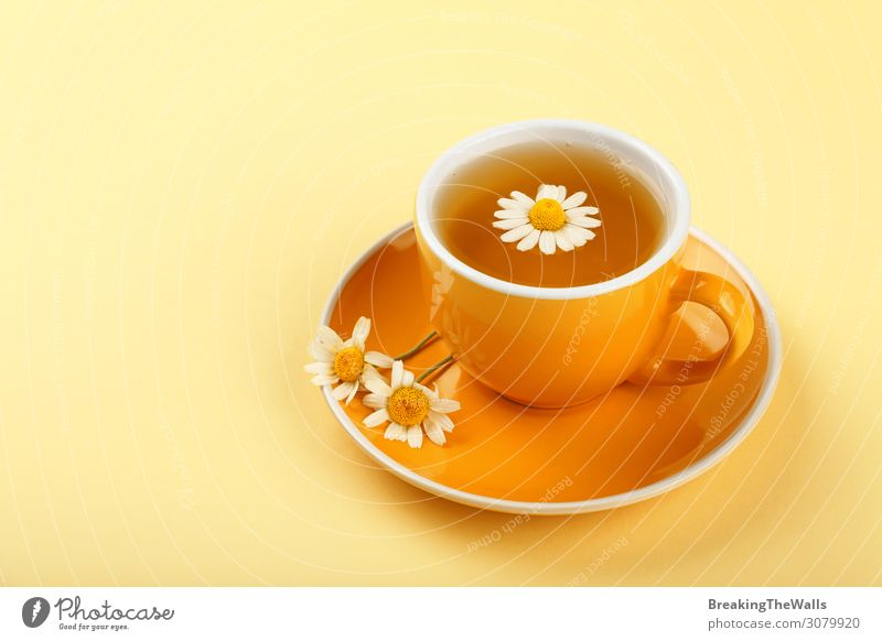 Yellow cup of herbal tea with camomile Beverage Hot drink Tea Mug Healthy Health care Medical treatment Wellness Life Harmonious Well-being Relaxation Flower