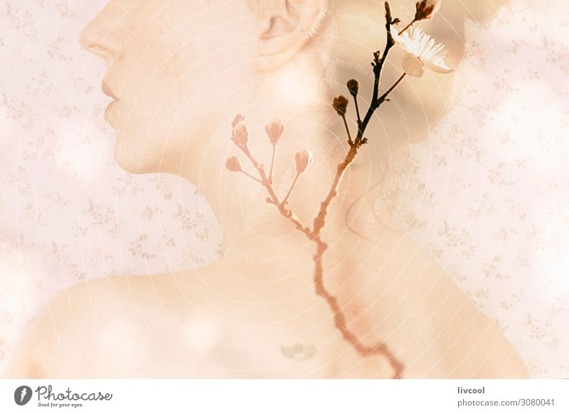 portrait of woman with double exposure on blooming branches Roll Lifestyle Relaxation Human being Feminine Woman Adults Female senior Arm 1 45 - 60 years Spring