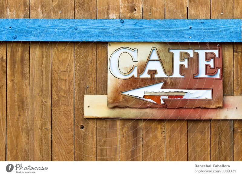 cafe Pedestrian precinct Wood Characters Signs and labeling Signage Warning sign Line Arrow Leisure and hobbies Café Coffee Services Broken Direction
