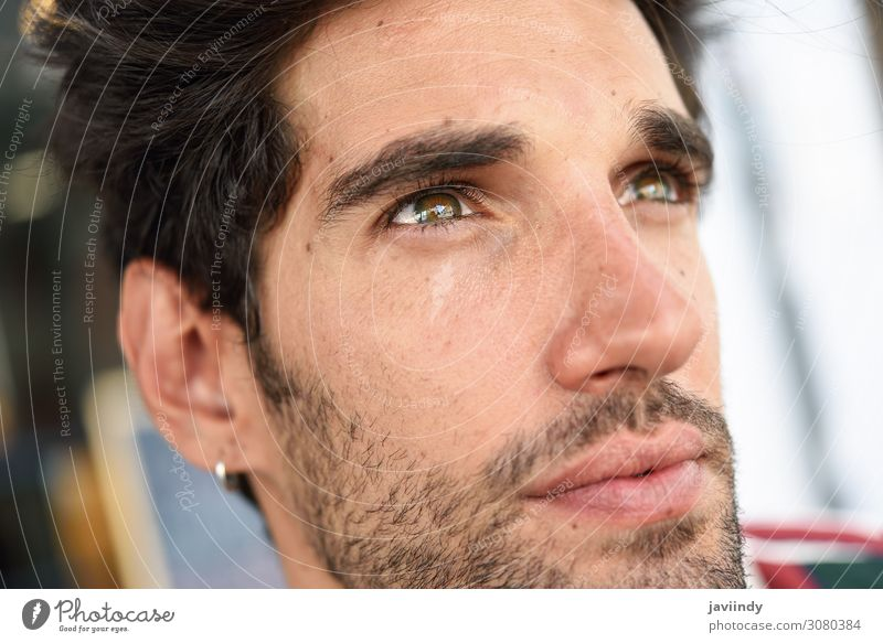 Young man with dark hair and modern hairstyle Human being Youth (Young adults) Man Beautiful White Eroticism Face Street Eyes Lifestyle Adults Happy Style