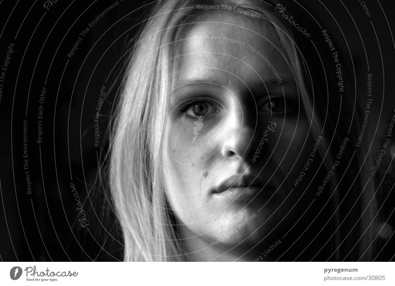 A little scared, maybe. Light Black White Woman Facial expression Shadow Black & white photo