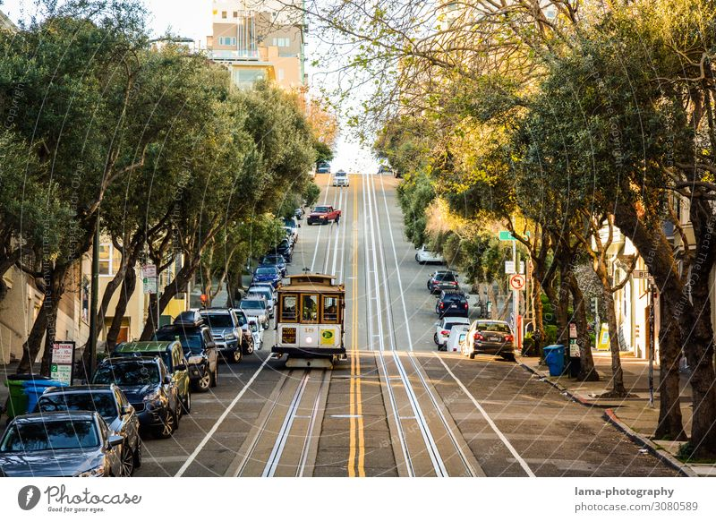 Town Street Tourism USA Tourist Attraction City trip Americas Sightseeing Passenger traffic Means of transport Avenue California Tram Train travel
