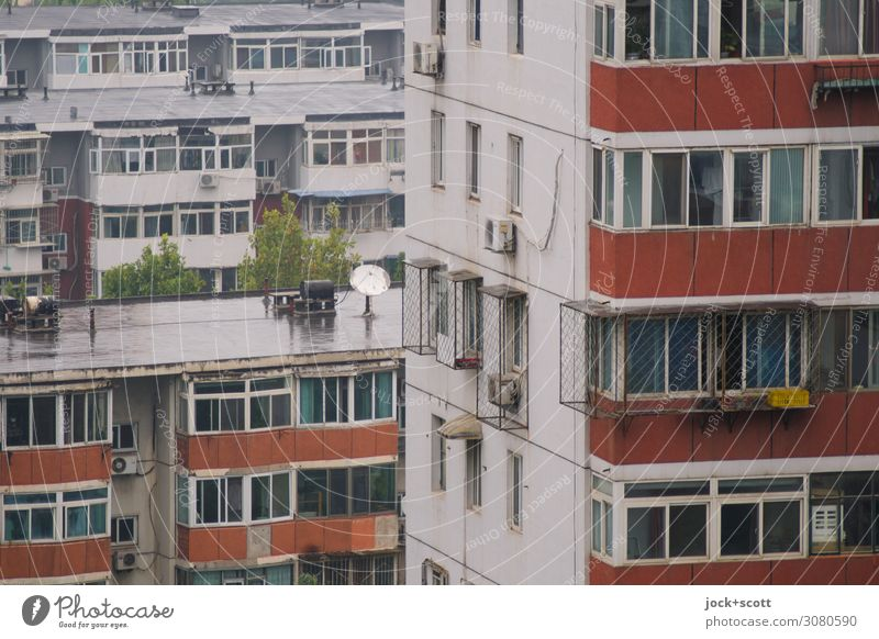 Beijing district Bad weather Town house (City: Block of flats) Prefab construction Tower block Facade Window Concrete Authentic Retro Gloomy Moody Protection