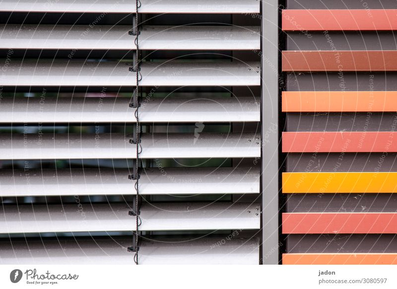 light and heat protection. Office Wall (barrier) Wall (building) Facade Window Line Stripe Simple Gray Orange Red Considerate Protection Climate protection