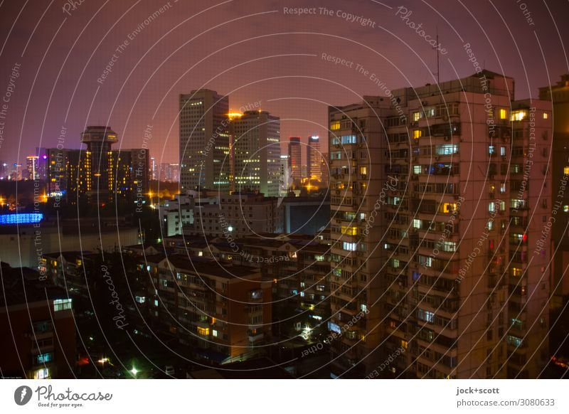 Many lights in the night Sky Beijing Downtown High-rise Prefab construction Tower block Office building Facade Illuminate Authentic Moody Modern Environment
