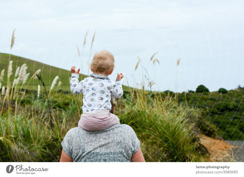 let go of sb./sth. New Zealand family vacation piggyback Infancy Child Mother Vacation mood travel Nature Hiking Release Trust Joy Shoulders Carrying Toddler