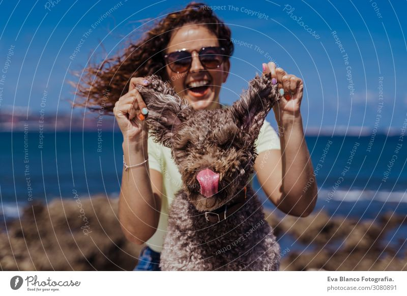 young woman and her cute spanish water dog outdoors enjoying together on a sunny and windy day. Summertime, love for animals and holidays concept Playing Dog