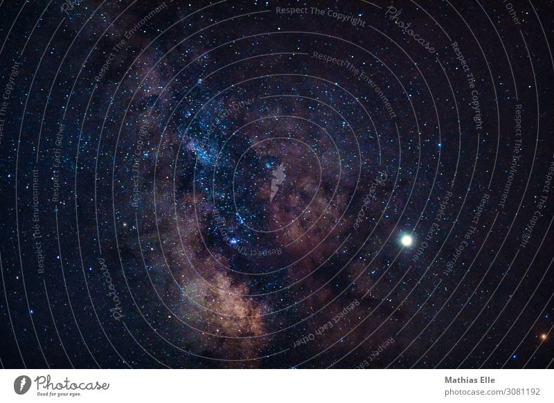 Milky Way Astronautics Cloudless sky Night sky Stars Horizon Summer Exceptional Blue Brown Yellow Black White Adventure Advancement Nature Environment