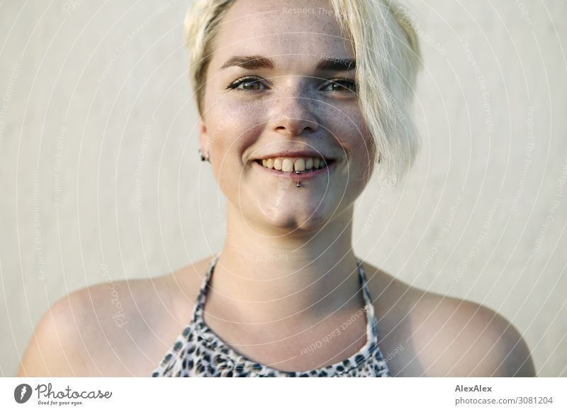 Portrait of young smiling woman with freckles and dimples Style Joy pretty Life Well-being Young woman Youth (Young adults) dimpled chin Freckles 18 - 30 years