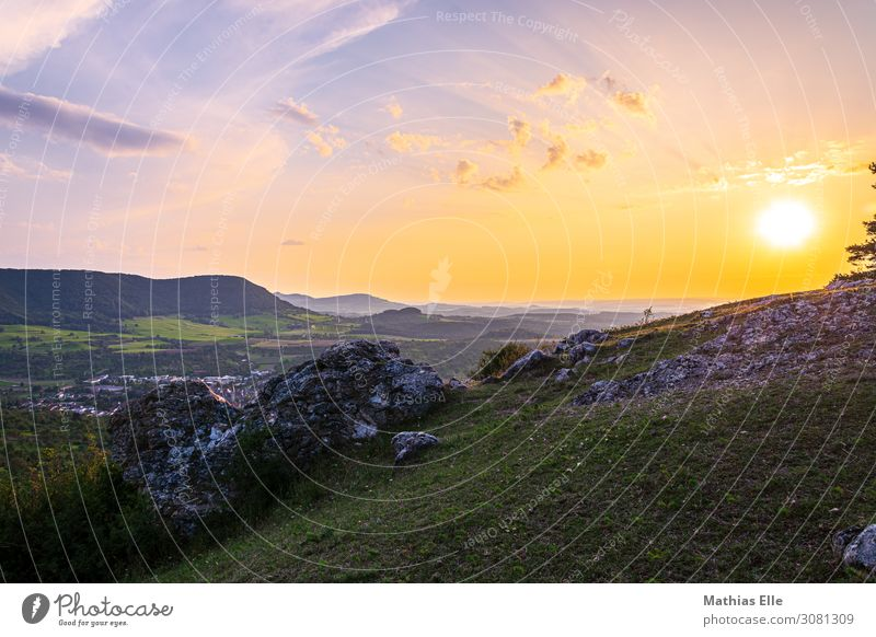 Sunset on the Alb Environment Nature Landscape Sky Clouds Horizon Sunrise Sunlight Summer Beautiful weather Grass Meadow Hill Mountain Village Stone Blue Yellow