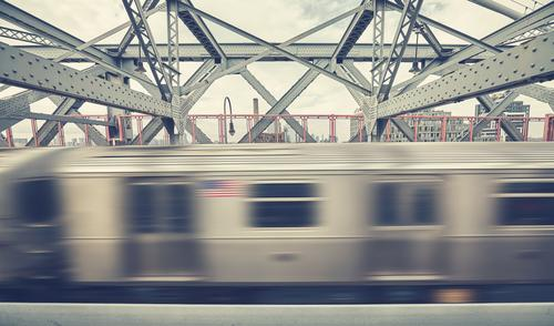 Williamsburg Bridge with subway train in motion, NYC. Vacation & Travel Movement Work and employment Going Transport Retro USA Speed Railroad Illustration