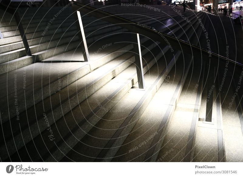 Light in the night Style Design Town Places Stairs Running Beautiful Brown Black Moody Colour photo Exterior shot Close-up Night Motion blur