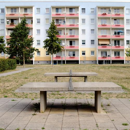 prefabricated building Sports Table tennis table Sporting Complex Tree Meadow Senftenberg Small Town Downtown Populated Deserted House (Residential Structure)