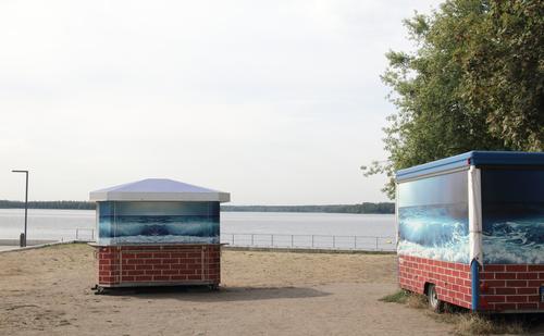 Nature Water Tree Beach Lake Gray Gloomy Lakeside Hut Beer Small Town Beverage stall