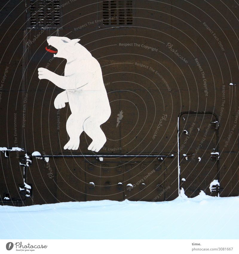 Polar bear outside Navy uboot Polar Bear Russian Harbour Metal Navigation Drawing symbol Logo Icon door Stand Snow Winter Cold Tongue Animal unusual Exceptional