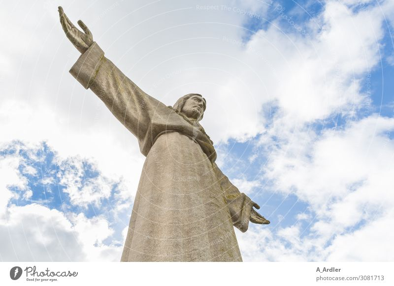 Statue of Christ in Lisbon Vacation & Travel Tourism Trip Freedom Sightseeing City trip Art Artist Sculpture Culture Capital city Outskirts Tourist Attraction
