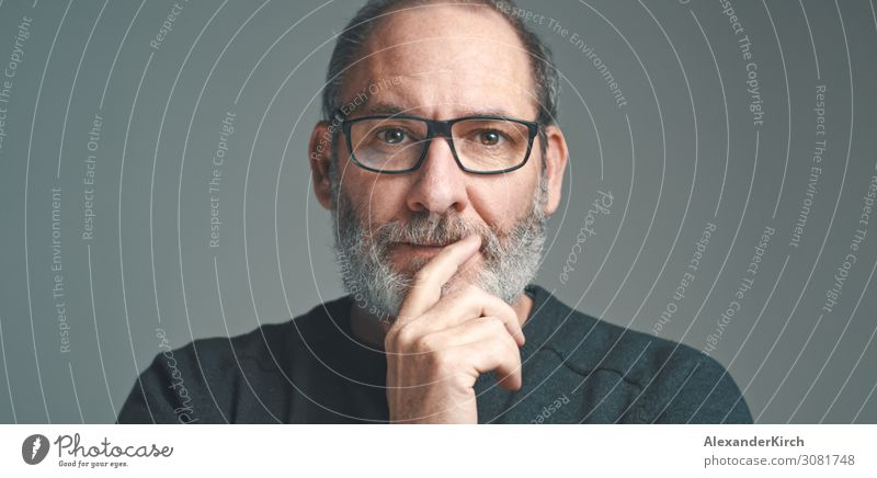Portrait of a bearded mature adult casual businessman with glasses looking into camera Business Human being Fashion Old Observe Think portrait Businessman