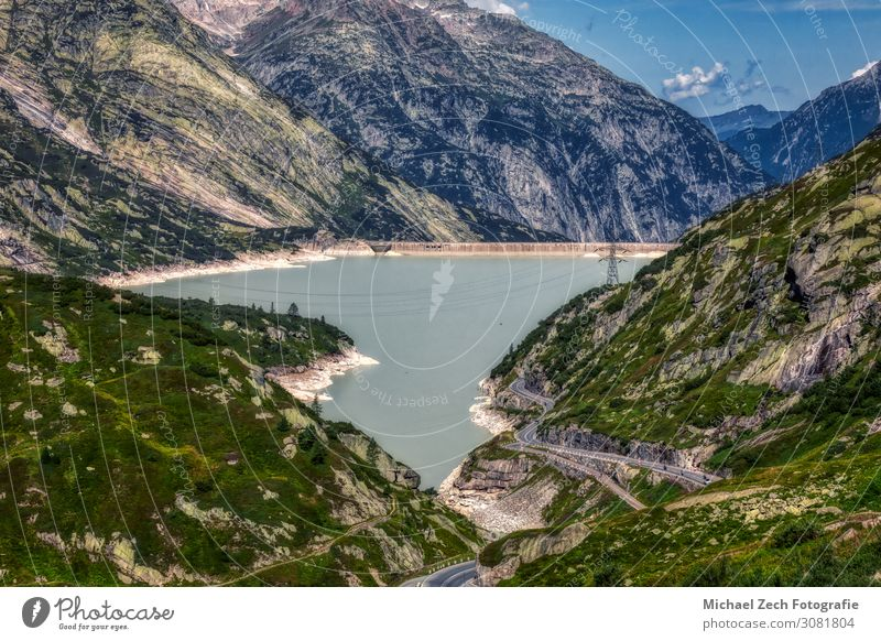 dam near grimsel pass between swiss alps Vacation & Travel Tourism Summer Mountain Hiking Hydroelectric  power plant Nature Landscape Plant Sky Rock Alps Lake