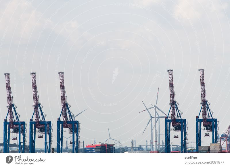 logistics Navigation Harbour Container Logistics Shipping Dockside crane Hamburg Port of Hamburg Wind energy plant Colour photo Exterior shot Copy Space top