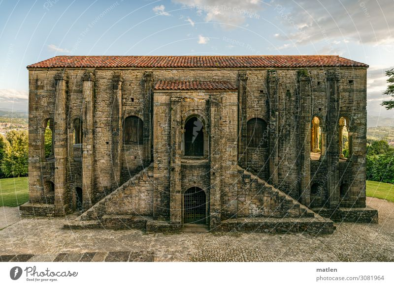 Santa María del Naranco Landscape Plant Sky Horizon Sunlight Beautiful weather Outskirts Deserted Church Ruin Manmade structures Architecture Wall (barrier)