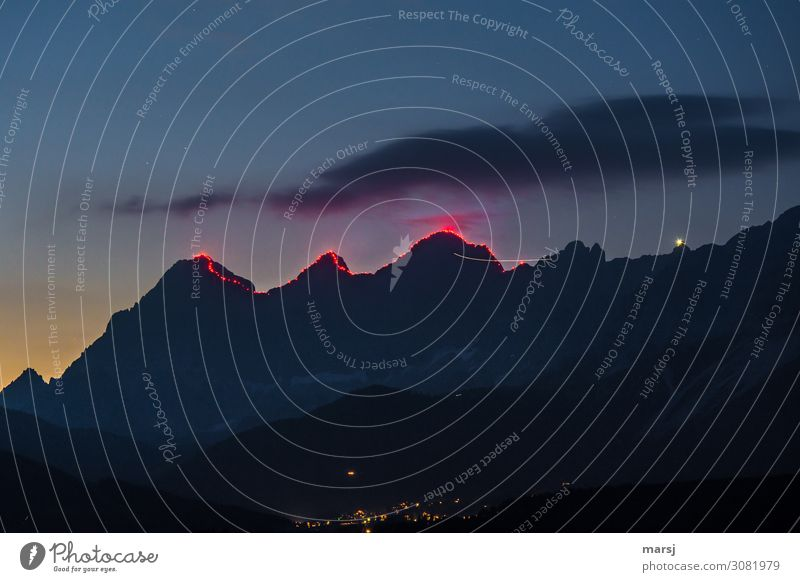 Nature Mountain Lighting Exceptional Illuminate Peak Attraction Torch Dachstein