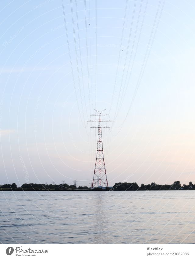 Summer Plant Landscape Calm Far-off places Environment Horizon Esthetic Idyll Perspective Beautiful weather Threat River Cable Network Ease