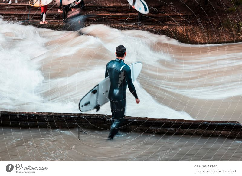 Eisbach in Munich: Waiting for the perfect wave? Vacation & Travel Tourism Trip Adventure Far-off places Freedom Sightseeing City trip Summer vacation Sports