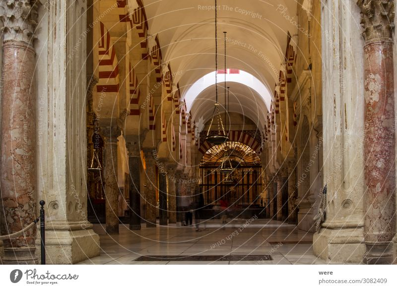 Columns and candlesticks in the Mezquita in Cordoba Church Dome Palace Castle Tourist Attraction Religion and faith Andalusia columns holiday Moshe spain