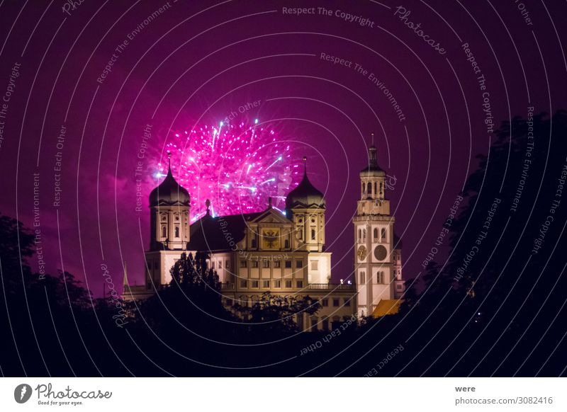 fireworks over the illuminated Augsburg Town Hall Entertainment Event New Year's Eve Fairs & Carnivals City hall Tourist Attraction Landmark Exceptional