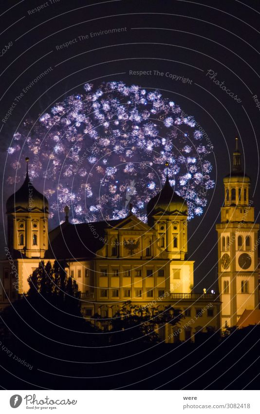 fireworks over the illuminated Augsburg Town Hall Culture Event Shows City hall Landmark Illuminate Gigantic Glittering Joy Firecracker celebration