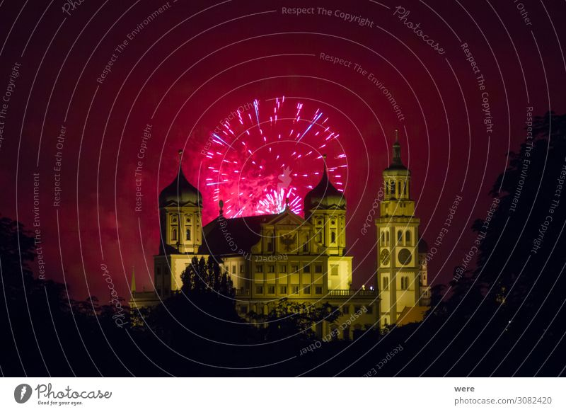 fireworks over the illuminated Augsburg Town Hall City hall Tourist Attraction Landmark Feasts & Celebrations Pink Red Firecracker celebration new year's eve