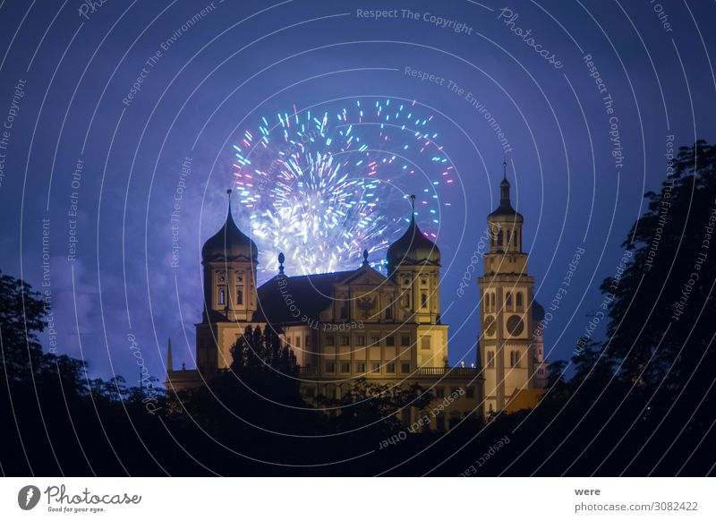 fireworks over the illuminated Augsburg Town Hall Event New Year's Eve City hall Tourist Attraction Landmark Monument Feasts & Celebrations Fantastic Blue
