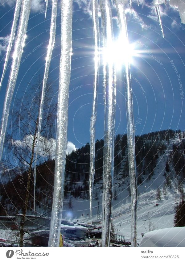 Icicles in the sun Winter Mountain Sun Snow Ice Cloudless sky