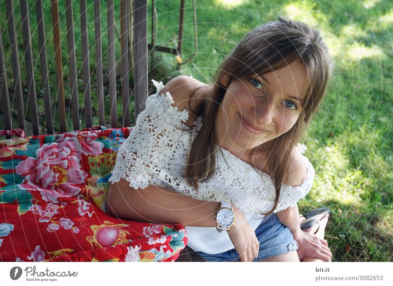 Human being Nature Youth (Young adults) Young woman Girl Environment Feminine Meadow Laughter Grass Garden Park Smiling Beautiful weather