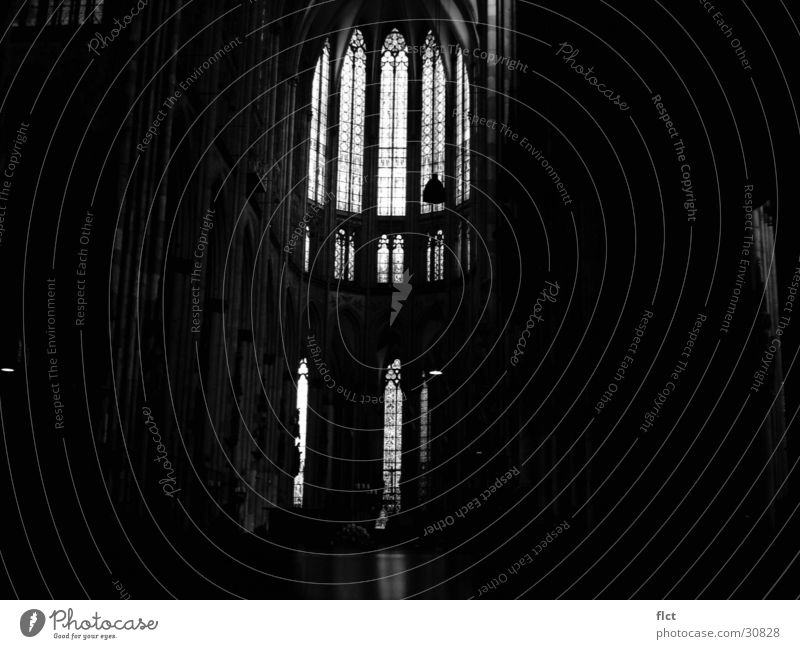 Cathedral b/w Cologne Choir Church window Gothic period Dark Mysterious House of worship Dome Black & white photo Religion and faith Sun Architecture