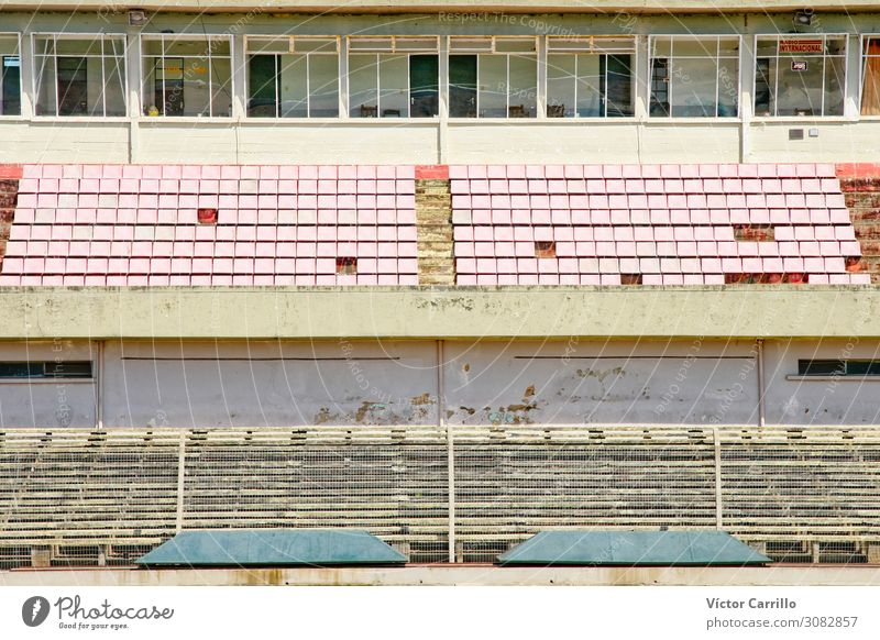 An old abandoned football stadium in Uruguay Sporting Complex Football pitch Stadium Architecture Historic Decadence Loneliness Elegant End Past Colour photo