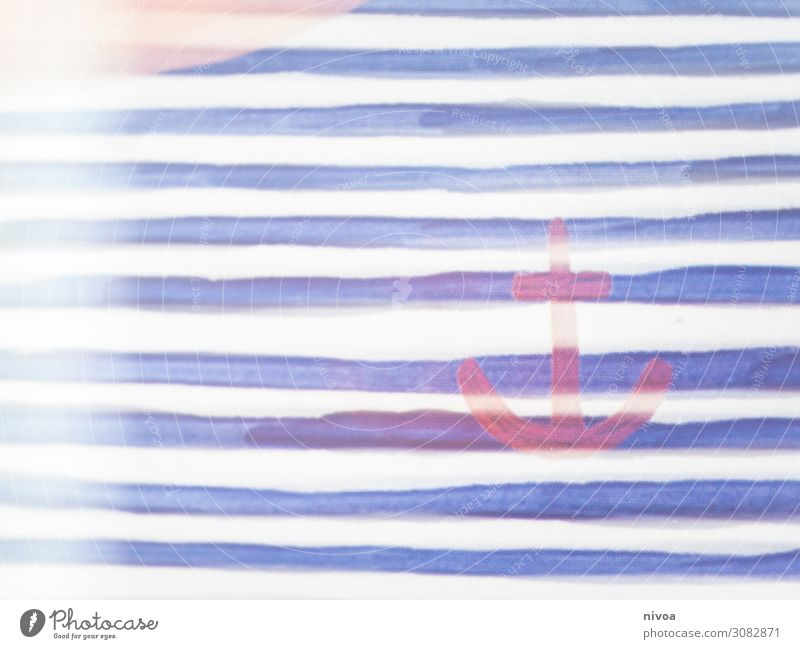 anchor Anchor lines Blue Painting and drawing (object) Drawing Art Painting (action, work) Colour Harbour Maritime Paintbrush Painting (action, artwork)