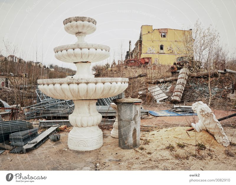 flea market Earth Sand Tree Bushes House (Residential Structure) Wall (barrier) Wall (building) Window Scrap metal Scrapyard Trash container Well Ruin Ruined