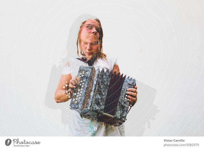 Double Exposure picture of a young woman playing the accordion Lifestyle Exotic Joy Leisure and hobbies Human being Feminine Young woman Youth (Young adults)