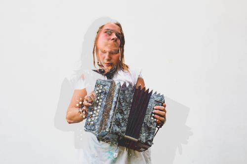 Double Exposure picture of a young woman playing the accordion Woman Human being Youth (Young adults) Young woman Relaxation Joy 18 - 30 years Lifestyle Adults