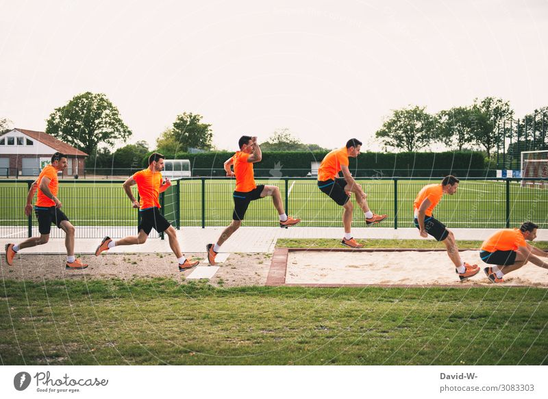 jump in slow motion Healthy Athletic Fitness Sports Track and Field Sportsperson Sporting event Football pitch Human being Masculine Young man