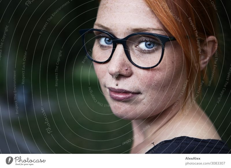 lateral portrait of a young woman with freckles and glasses Joy already Contentment Young woman Youth (Young adults) Freckles 18 - 30 years Adults Summer