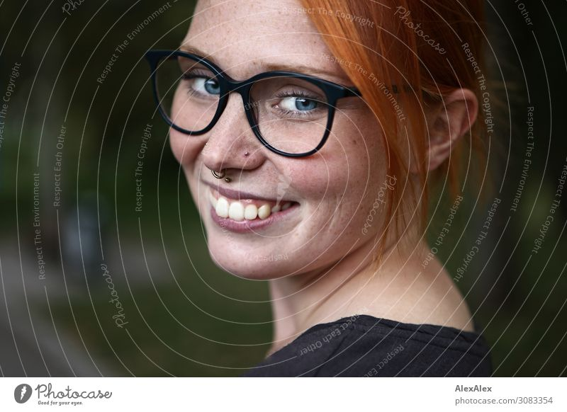 Portrait of a young woman with freckles Joy Beautiful Harmonious Young woman Youth (Young adults) Face Freckles 18 - 30 years Adults Summer Beautiful weather