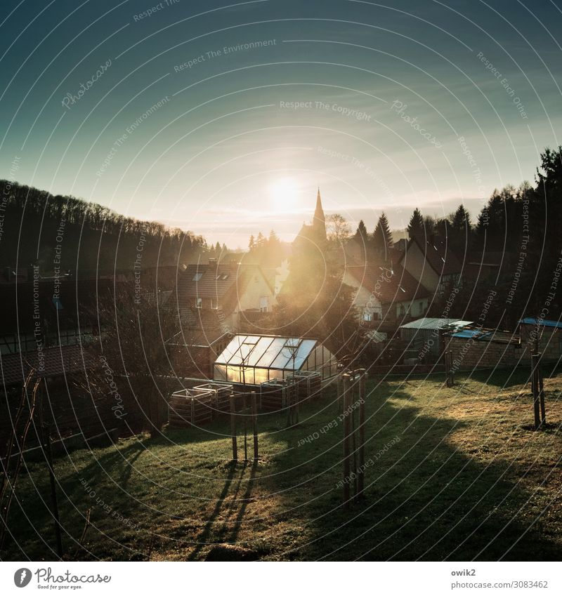 Sun over the southern Harz Mountains Environment Nature Landscape Plant Air Sky Clouds Horizon Beautiful weather Tree Garden Meadow Forest gonna Saxony-Anhalt
