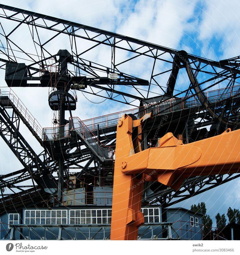 Lost Future Technology Energy industry Excavator Soft coal dredger Soft coal mining discarded Sky Clouds Window Metal Old Gigantic Large Blue Orange Black